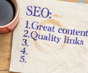 Don't Stop SEO napkin with writing on it