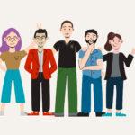 The Xcite Team cartoon drawings