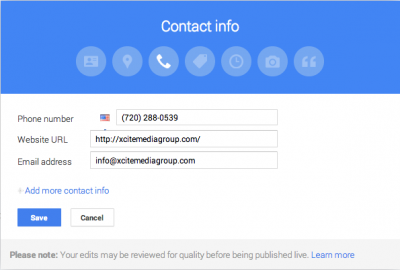 Google My Business Contact Info Content Box